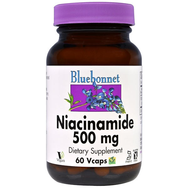 Bluebonnet Nutrition, Niacinamide, 500 mg, 60 VCaps (Discontinued Item)