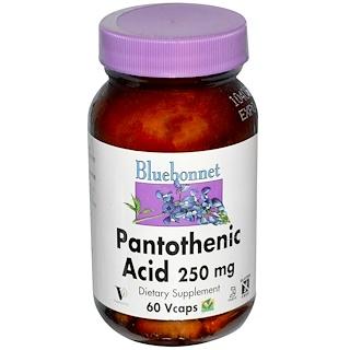 Bluebonnet Nutrition, Pantothenic Acid, 250 mg, 60 Vcaps