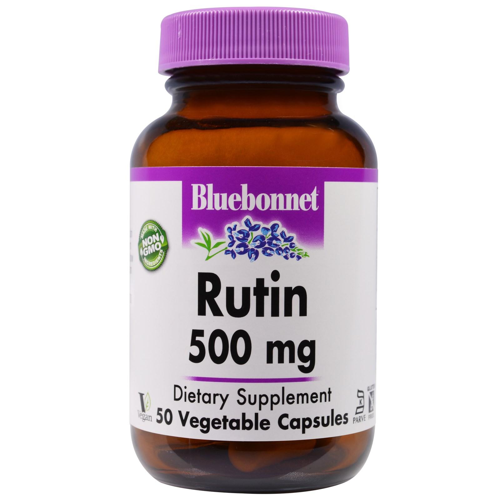 Bluebonnet Nutrition, Рутин, 500 мг, 50 капсул в растительной оболочке