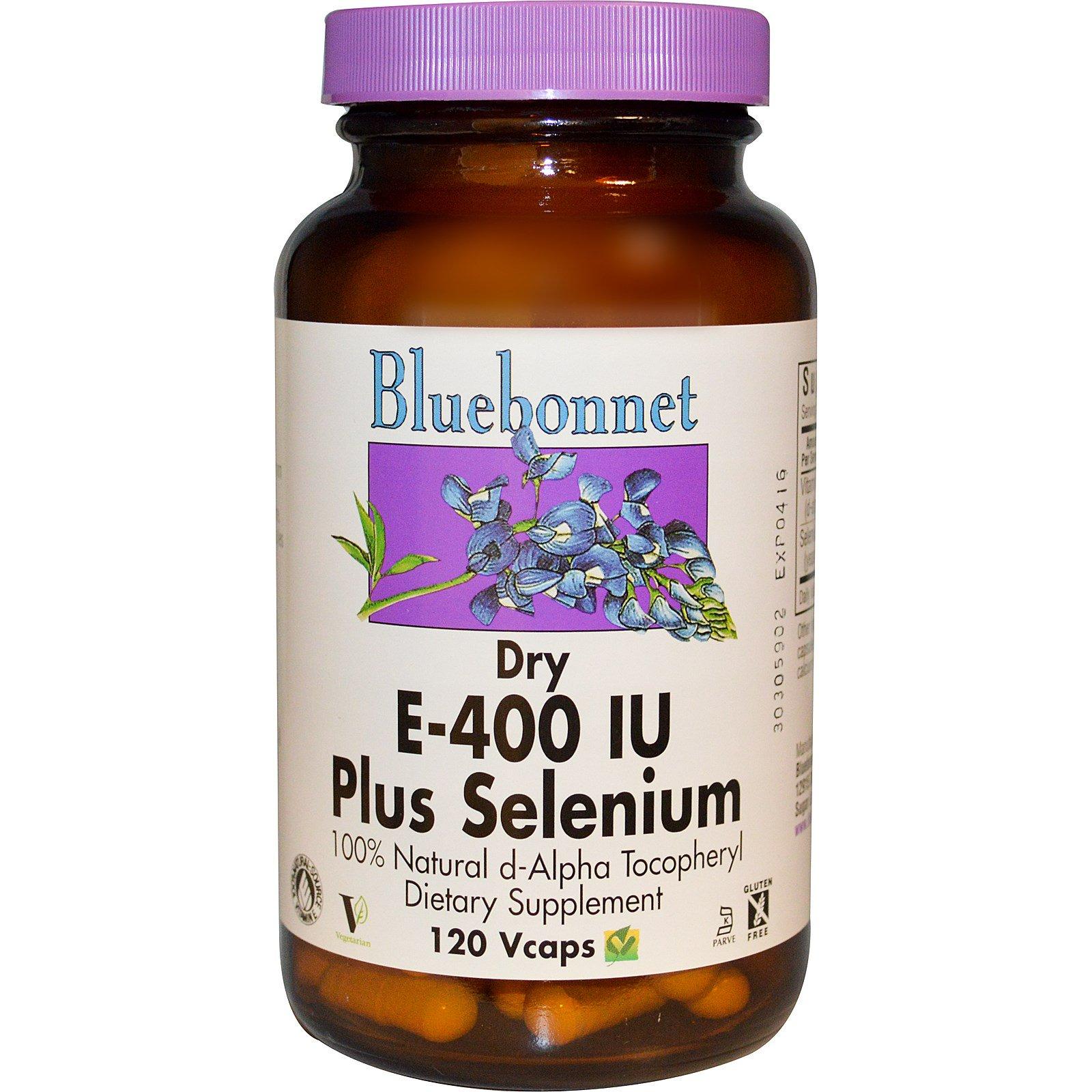 Bluebonnet Nutrition, E-400 IU, плюс селен 120 овощных капсул