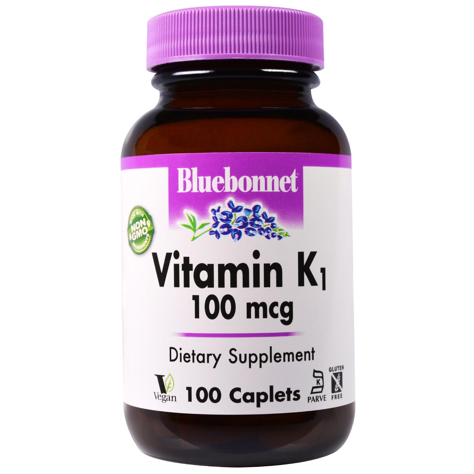 Bluebonnet Nutrition, Витамин K1, 100 мкг, 100 капсулообразных таблеток