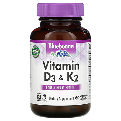 Купить Bluebonnet Nutrition Vitamin D3 & K2, 60 Vegetable Capsules