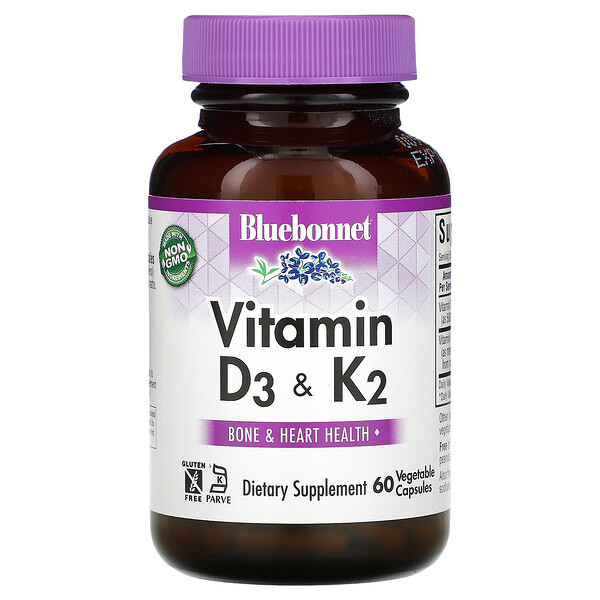 Bluebonnet Nutrition, Vitamin D3 & K2, 60 Vegetable Capsules