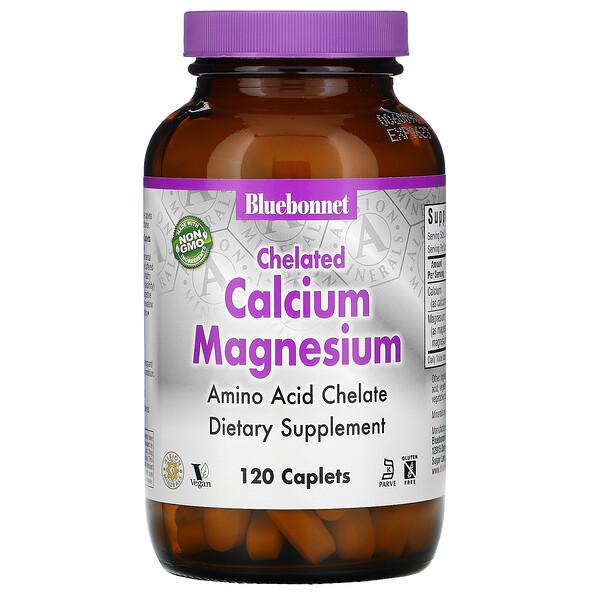 Bluebonnet Nutrition, хелаты магния и кальция, 120таблеток