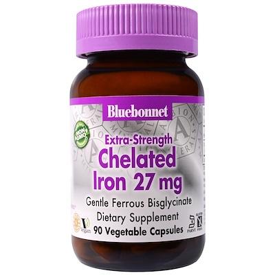 Хелатное железо Extra Strength, 27 мг, 90 растительных капсул легкодоступное железо джентл айрон 90 капсул solgar минералы