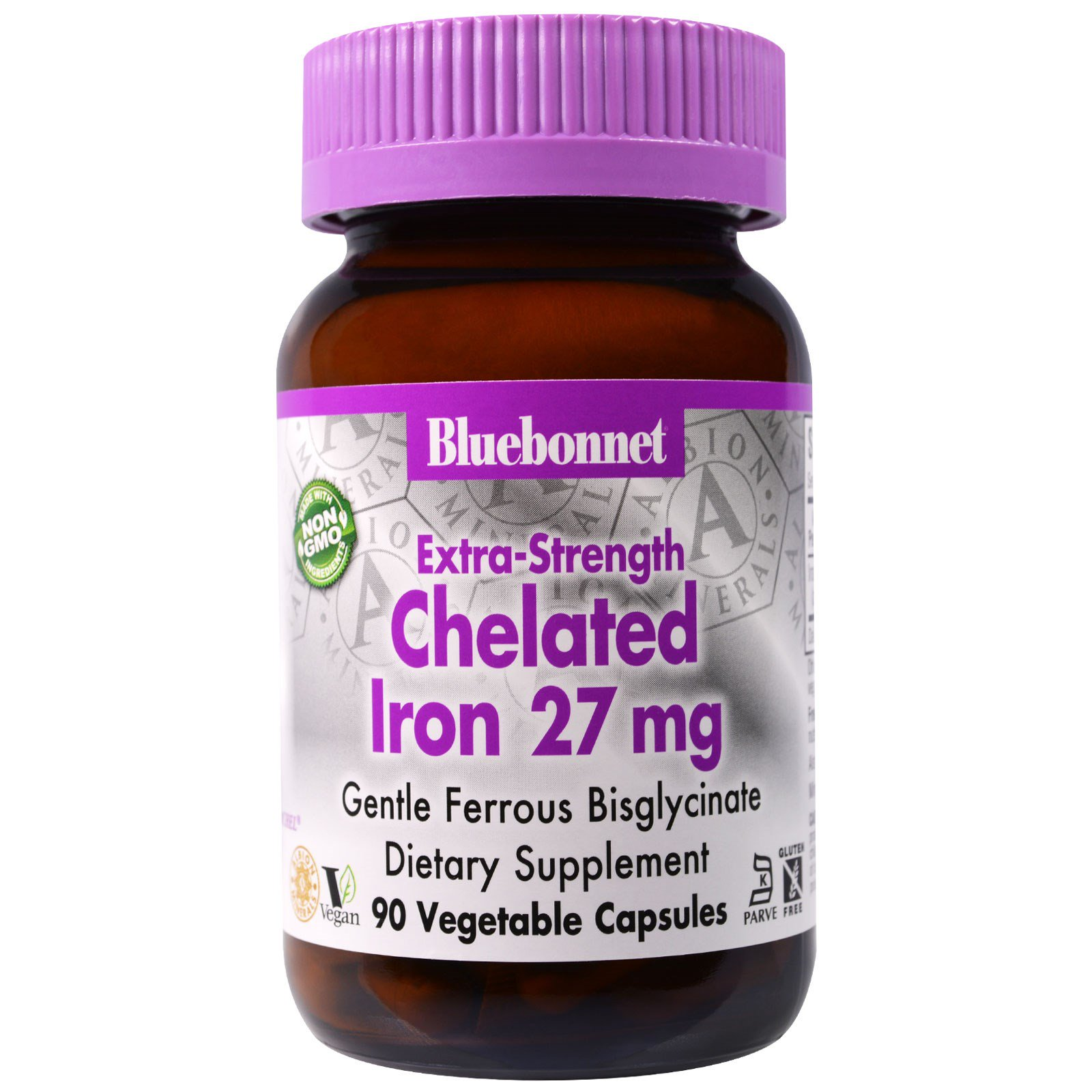 Bluebonnet Nutrition, Дополнительная сила хелатированного железа, 27 мг, 90 вегетарианских капсул