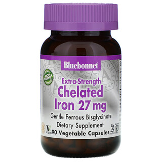 Bluebonnet Nutrition, 特強螯合鐵,27 毫克,90 粒素食膠囊