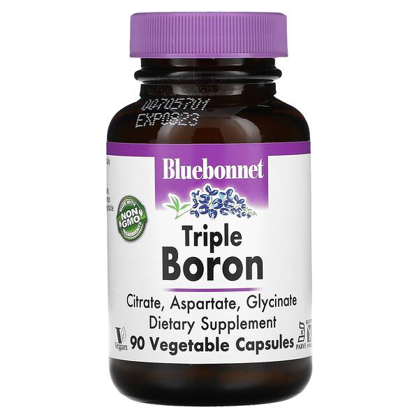 Bluebonnet Nutrition, Triple Boron, Citrate, Aspartate, Glycinate, 90 Vegetable Capsules