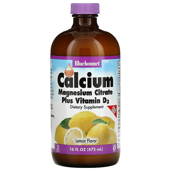 Bluebonnet Nutrition, Liquid Calcium, Magnesium Citrate Plus Vitamin D3, Natural Lemon, 16 fl oz (472 ml)