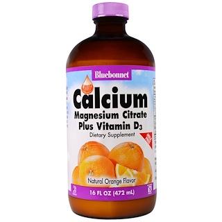 Bluebonnet Nutrition, Liquid Calcium Magnesium Citrate Plus Vitamin D3, Natural Orange Flavor, 16 fl oz (472 ml)