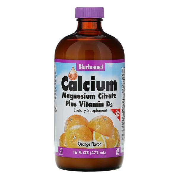 """شراب الكالسيوم والماغنسيوم والسترات مع فيتامين """"د3""""، بنكهة البرتقال الطبيعية، 16 أونصة سائلة (472 مل)"""
