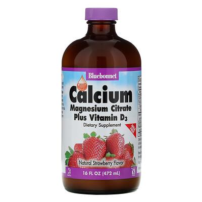Bluebonnet Nutrition Жидкий кальций, цитрат магния и витамин D3, с натуральным клубничным ароматизатором, 16 жидких унций (472 мл)