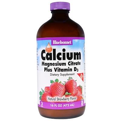 Жидкий кальций, цитрат магния и витамин D3, с натуральным клубничным ароматизатором, 16 жидких унций (472 мл)