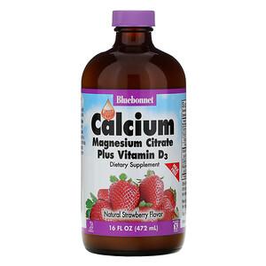 Блубоннэт Нутришен, Liquid Calcium, Magnesium Citrate Plus Vitamin D3, Natural Strawberry Flavor, 16 fl oz (472 ml) отзывы покупателей