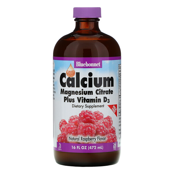 Liquid Calcium, Magnesium Citrate Plus Vitamin D3, Natural Raspberry Flavor, 16 fl oz (472 ml)