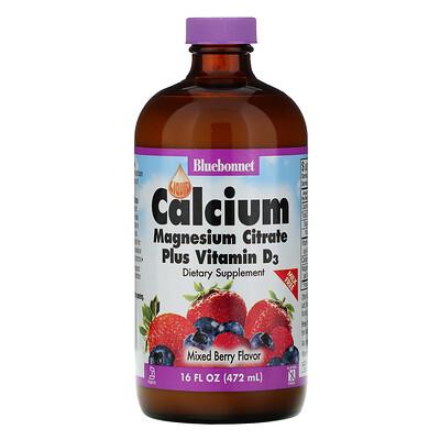 Bluebonnet Nutrition Жидкий кальций и цитрат магния плюс витамин D3, вкус натурального ягодного ассорти, 16 жидк. унц. (472 мл)