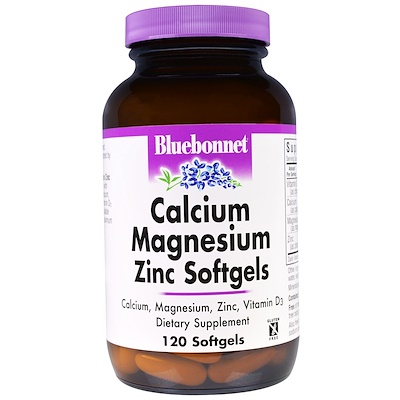 Кальций, магний и цинк, 120 гелевых капсул