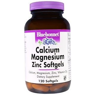 Bluebonnet Nutrition, 칼슘 마그네슘 아연, 120 소프트젤