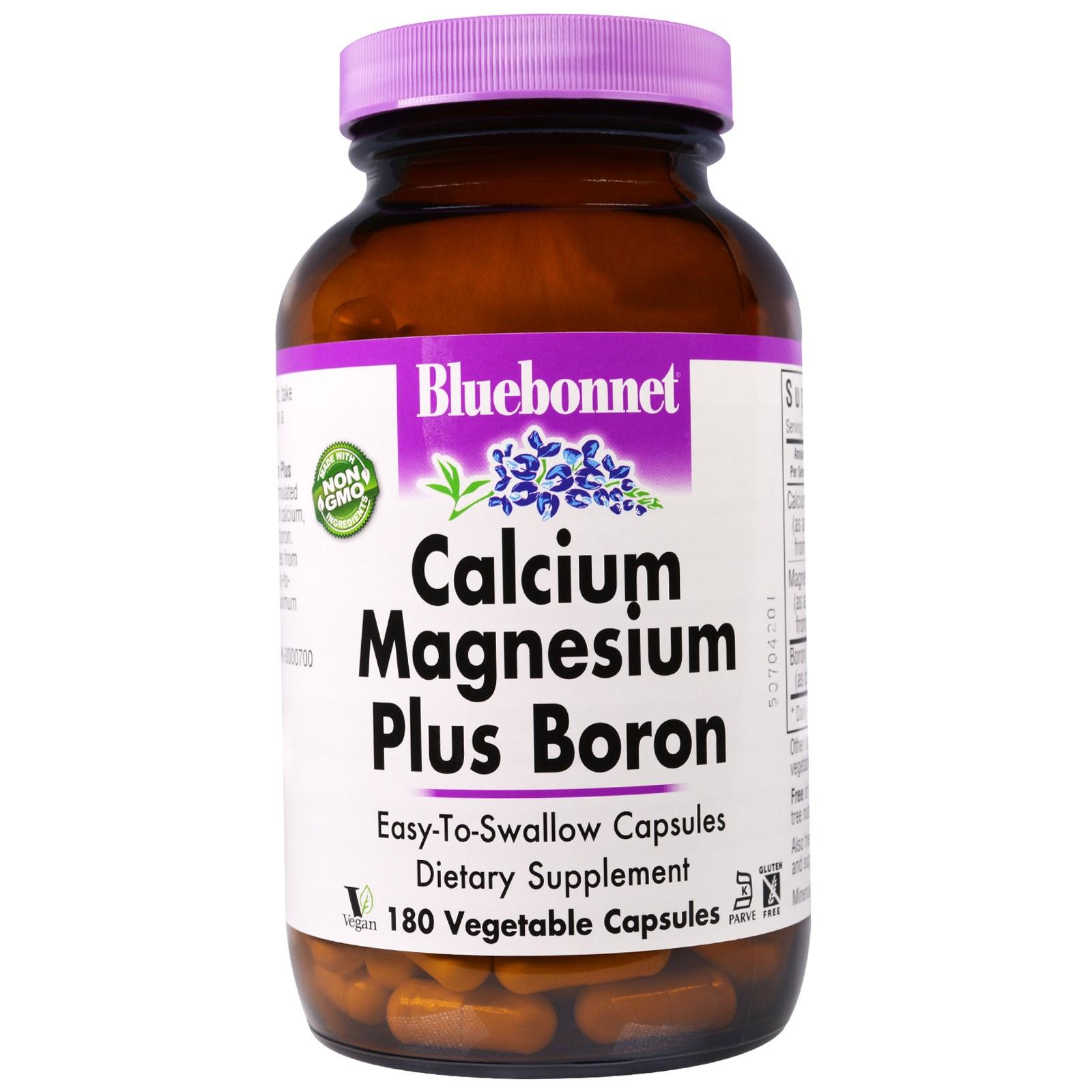 Bluebonnet Nutrition, Кальций, магний, бор, 180 капсул в растительной оболочке
