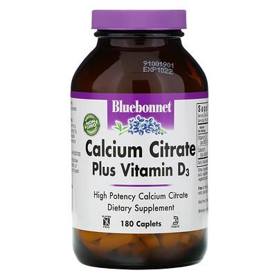 Bluebonnet Nutrition Calcium Citrate Plus Vitamin D3, 180 Caplets