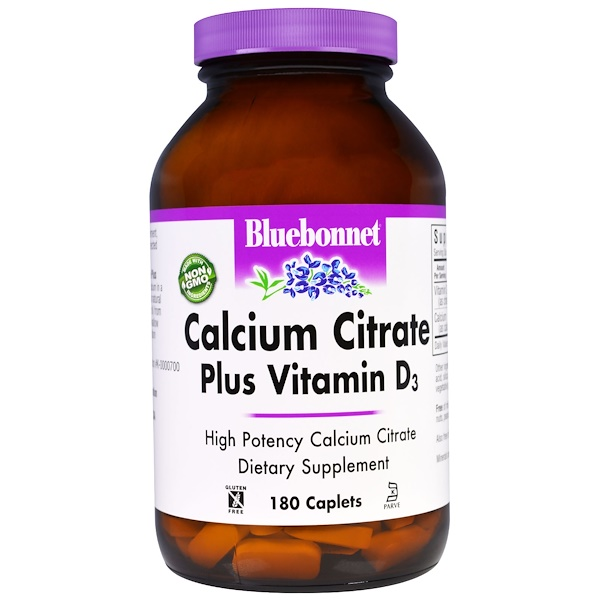 Bluebonnet Nutrition, Calcium Citrate, Plus Vitamin D3, 180 Caplets