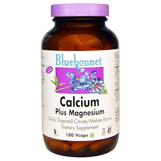 Bluebonnet Nutrition, Calcium Plus Magnesium, 180 Veggie Caps