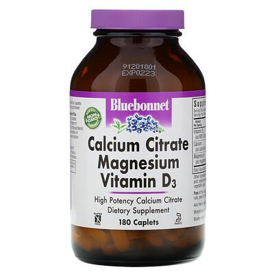 Купить Bluebonnet Nutrition Цитрат кальция с магнием и витамином D3, 180 капсул