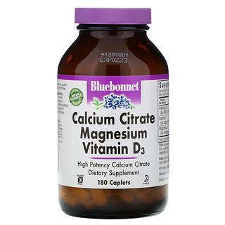Bluebonnet Nutrition, 구연산 칼슘, 마그네슘, 비타민D3, 소형 캡슐 180정