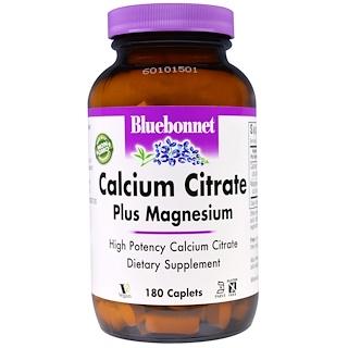 Bluebonnet Nutrition, Calcium Citrate, Plus Magnesium, 180 Caplets