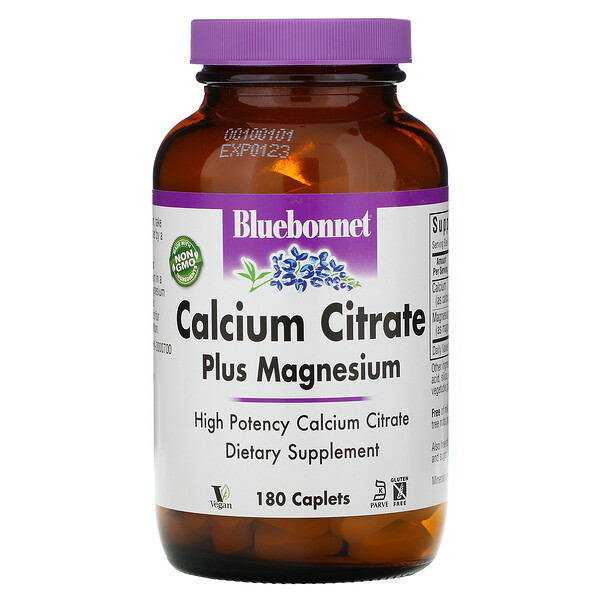 Bluebonnet Nutrition, Calcium Citrate Plus Magnesium, 180 Caplets