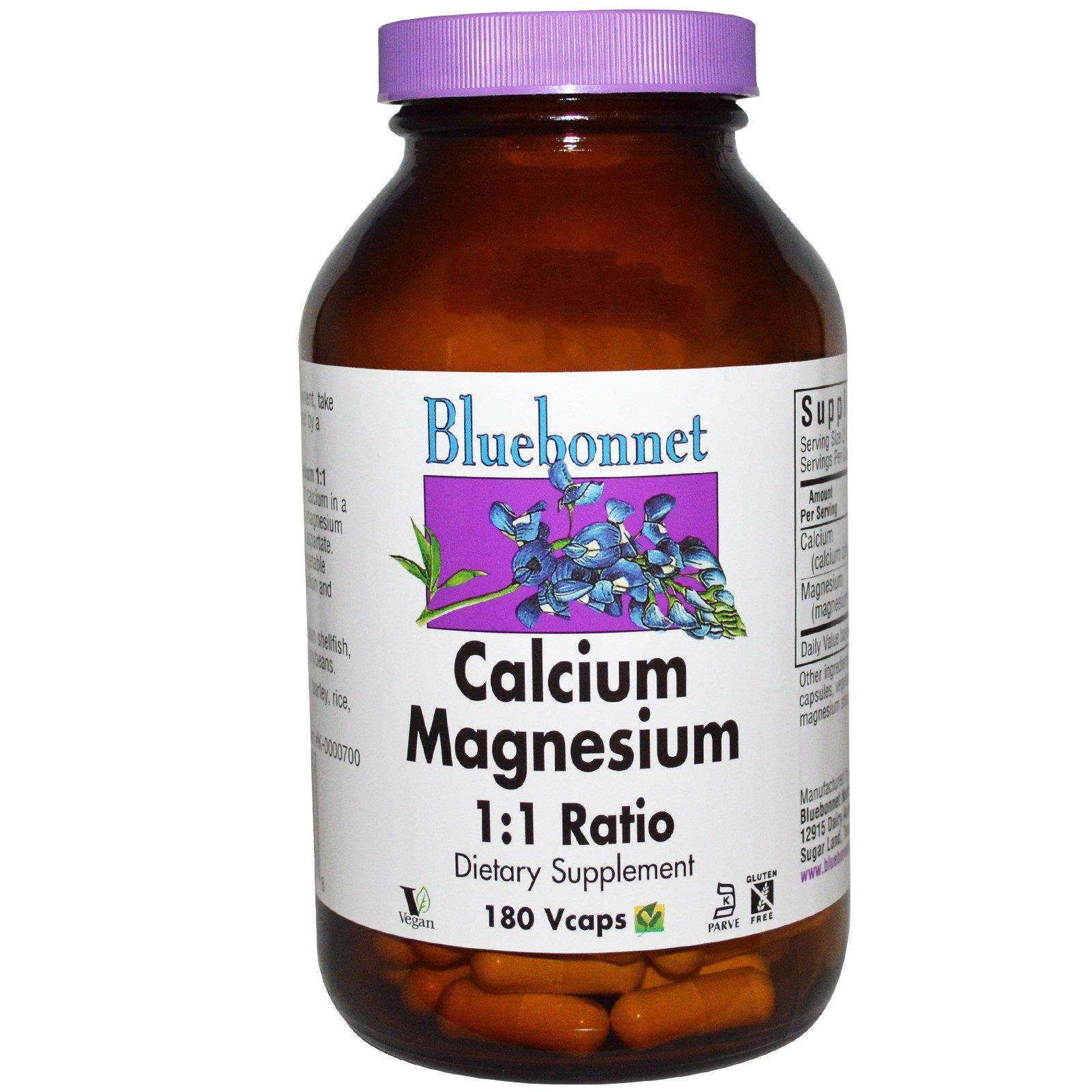 Bluebonnet Nutrition, Кальций и магний, в соотношении 1:1, 180 капсул на растительной основе