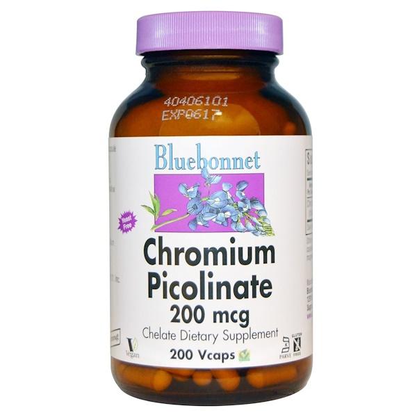 Bluebonnet Nutrition, Пиколинат хрома, 200 мкг, 200 вегетарианских капсул (Discontinued Item)