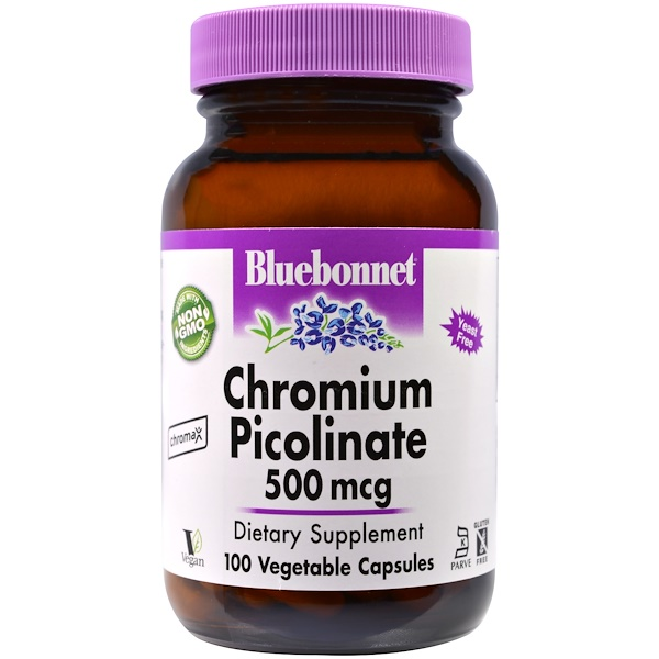 Bluebonnet Nutrition, Chromium Picolinate, 500 mcg, 100 Veggie Caps