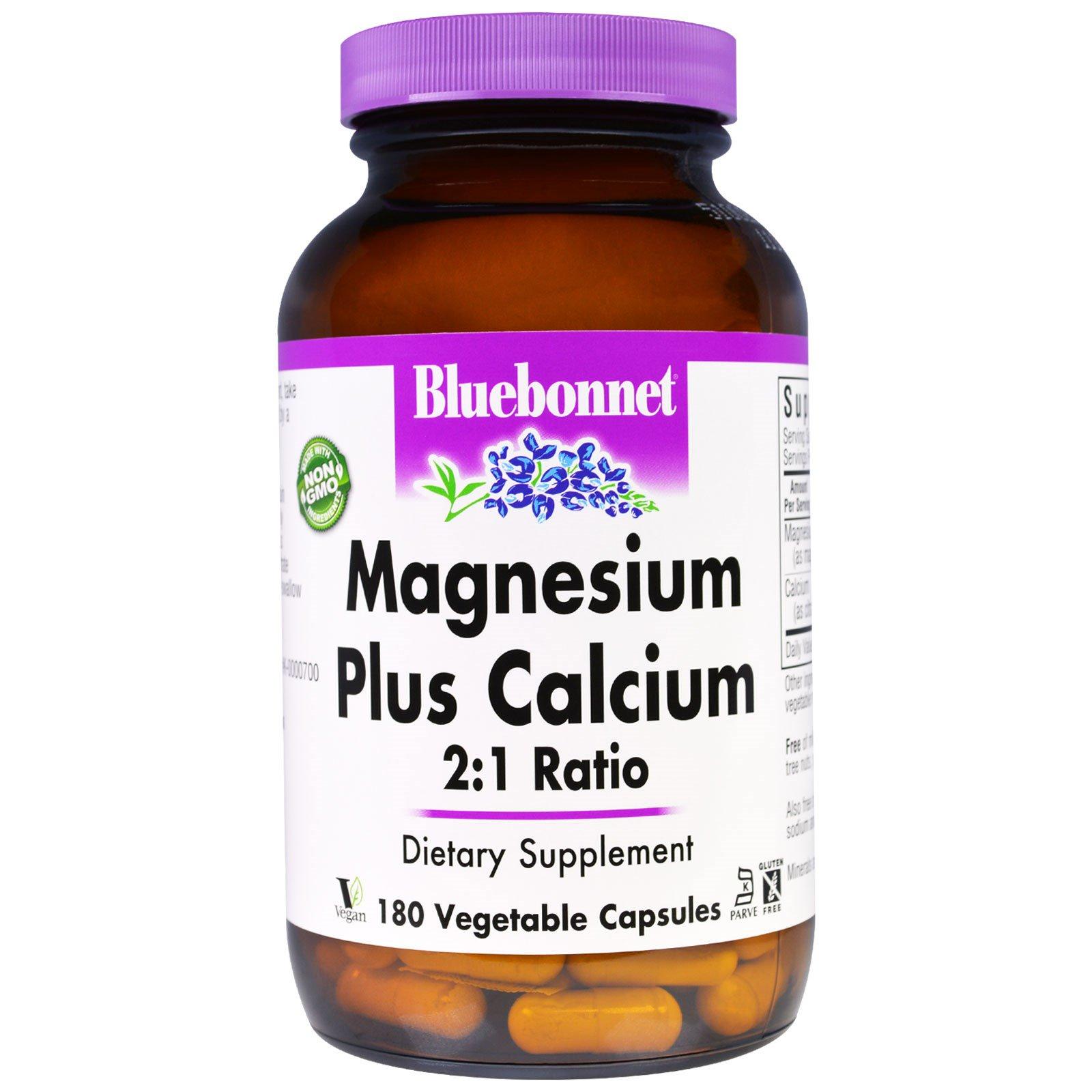 Bluebonnet Nutrition, Магний и кальций в соотношении 2:1, 180 капсул в растительной оболочке