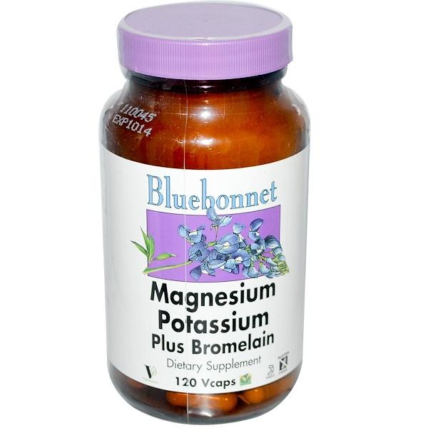 مغنيسيوم وبوتاسيوم بالإضافة إلى البروميلين، 120 كبسولة نباتية