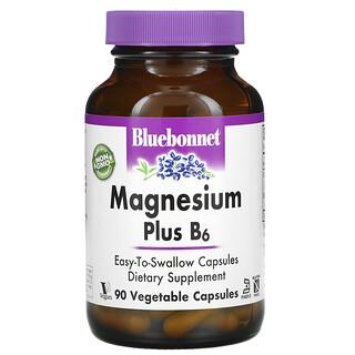 Bluebonnet Nutrition, Magnesio Plus B6, 90 cápsulas vegetales