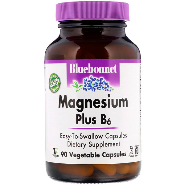 Bluebonnet Nutrition, Magnesium Plus B6, 90 כמוסות צמחיות