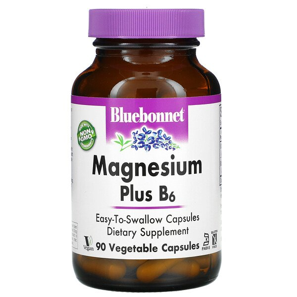Bluebonnet Nutrition, Magnesium Plus B6, 90 Vegetable Capsules