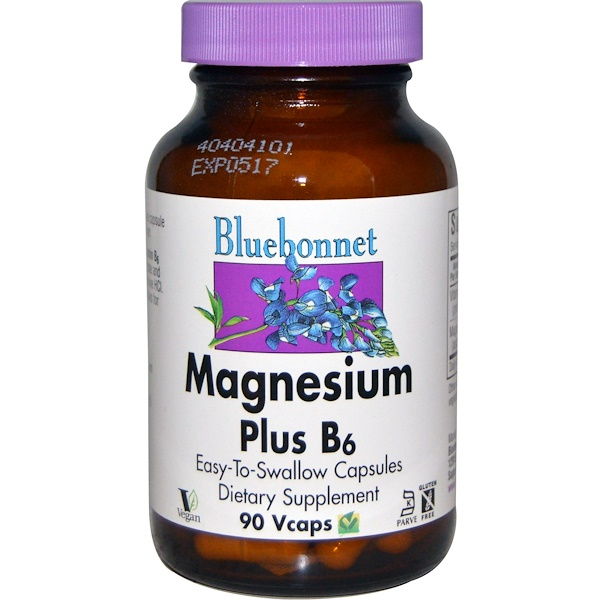 Bluebonnet Nutrition, Magnesium Plus B6, 90 Vcaps