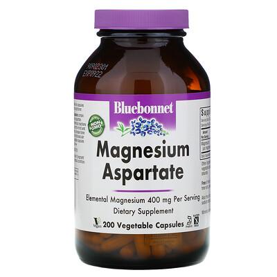 Bluebonnet Nutrition Magnesium Aspartate, 400 mg, 200 Vegetable Capsules