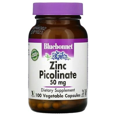 Bluebonnet Nutrition пиколинат цинка, 50мг, 100вегетарианских капсул