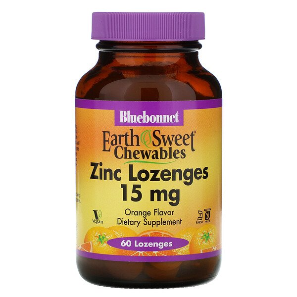Bluebonnet Nutrition, EarthSweet, Zinc Lozenges, Natural Orange Flavor, 15 mg, 60 Lozenges
