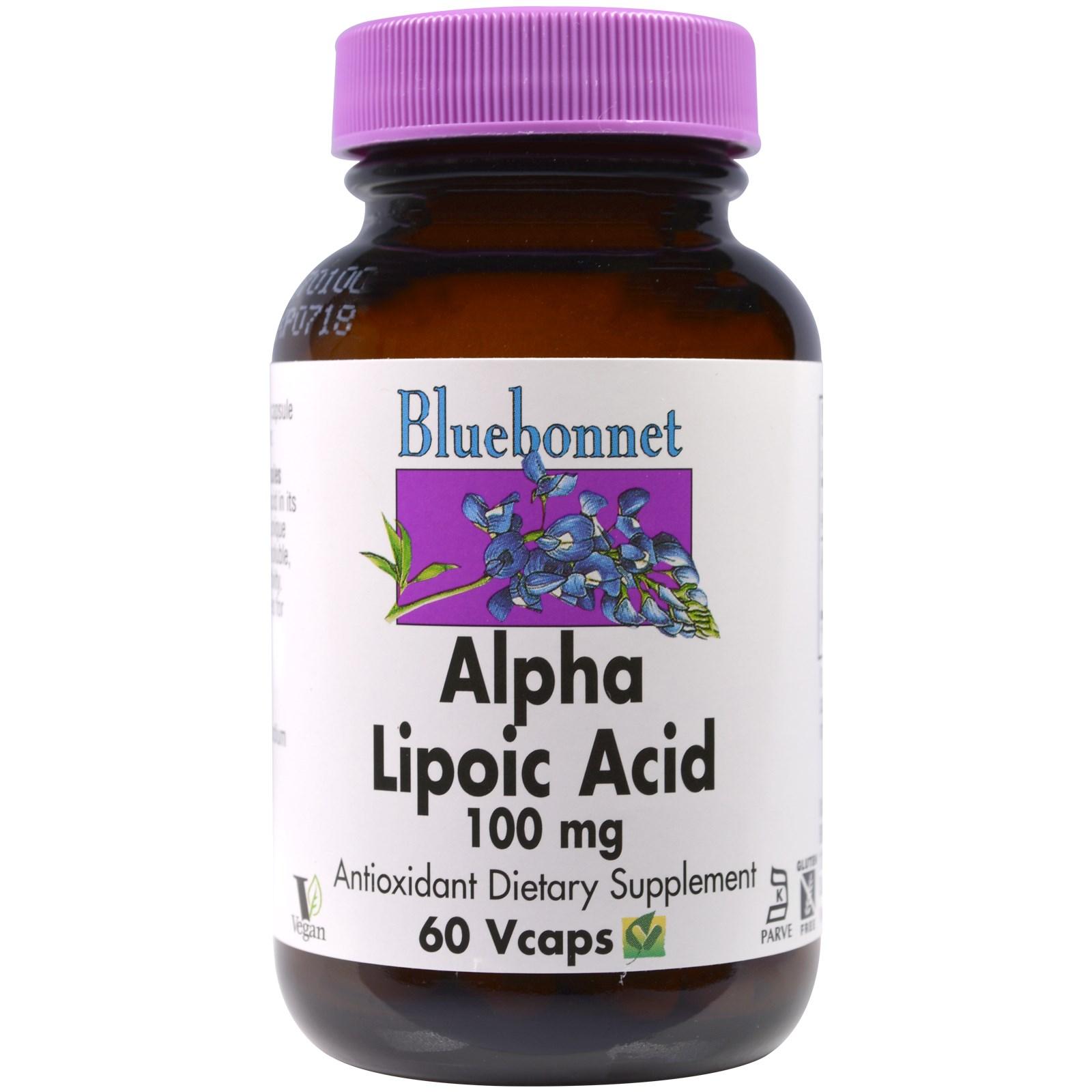 Bluebonnet Nutrition, Альфа-липоевая кислота, 100 мг, 60 капсул в растительной оболочке