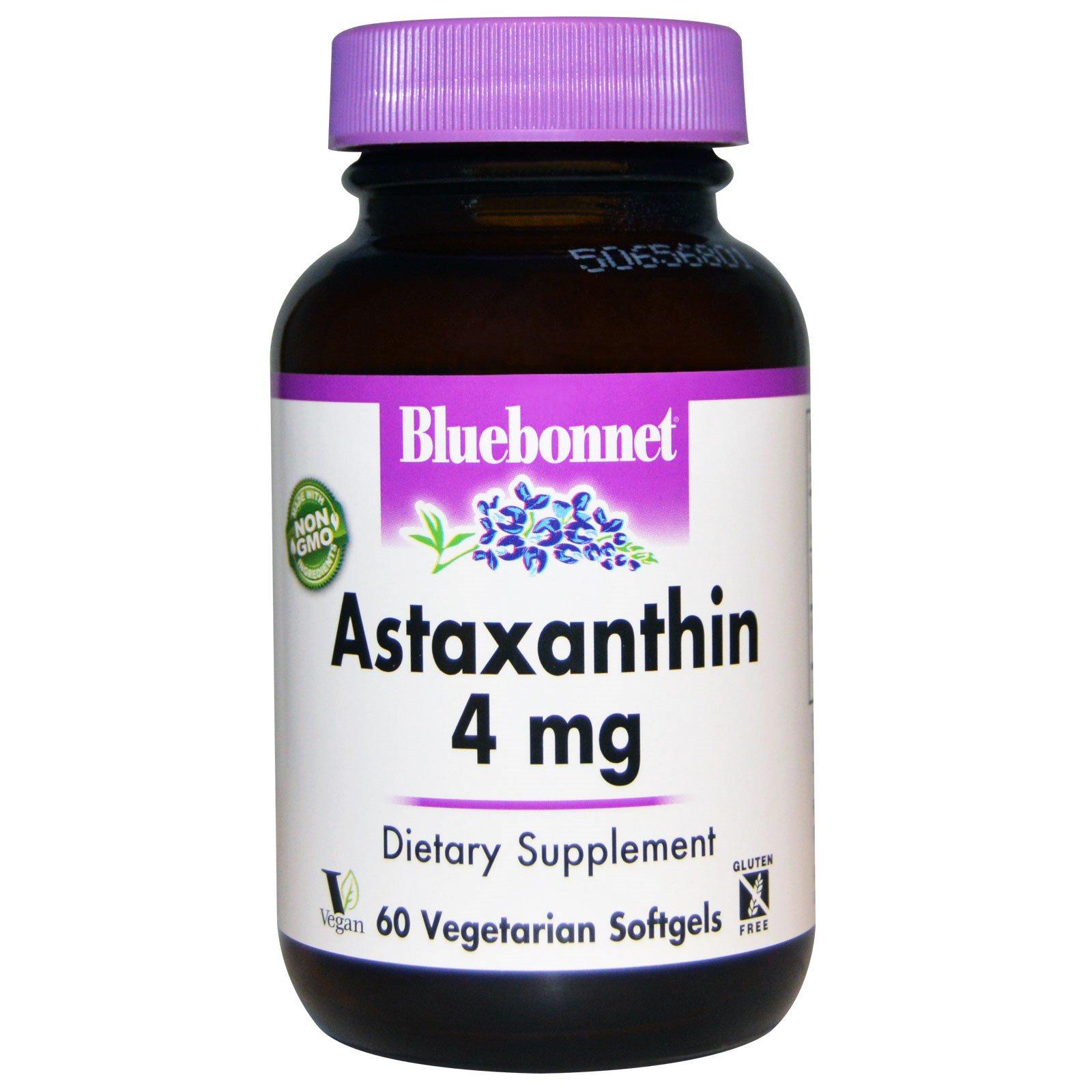 Bluebonnet Nutrition, Астаксантин, 4 мг, 60 вегетерианских мягких капсул