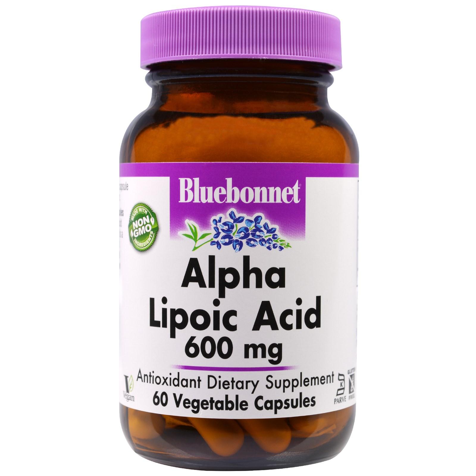 Bluebonnet Nutrition, Альфа-липоевая кислота, 600 мг, 60 капсул в растительной оболочке