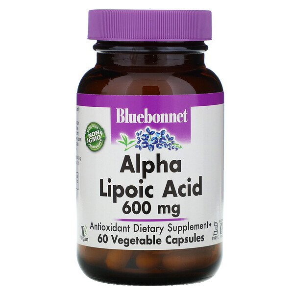 Bluebonnet Nutrition, Alpha Lipoic Acid, 600 mg, 60 Vegetable Capsules