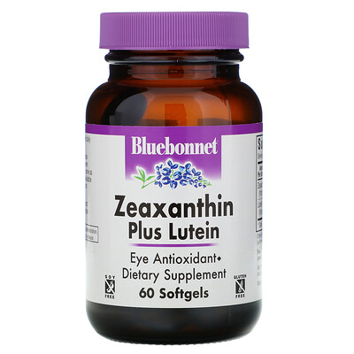 Bluebonnet Nutrition Зеаксантин плюс лютеин, 60 мягких желатиновых капсул