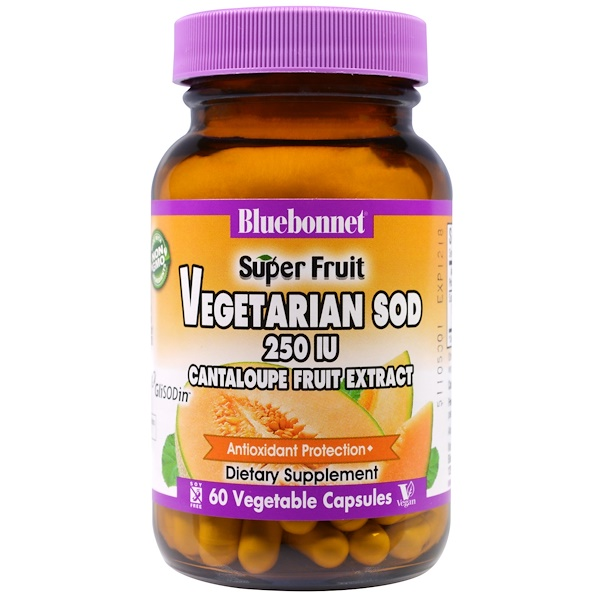 Bluebonnet Nutrition, 超級水果, 素食超氧化物歧化酶, 香瓜提取物, 250 IU, 60植物膠囊