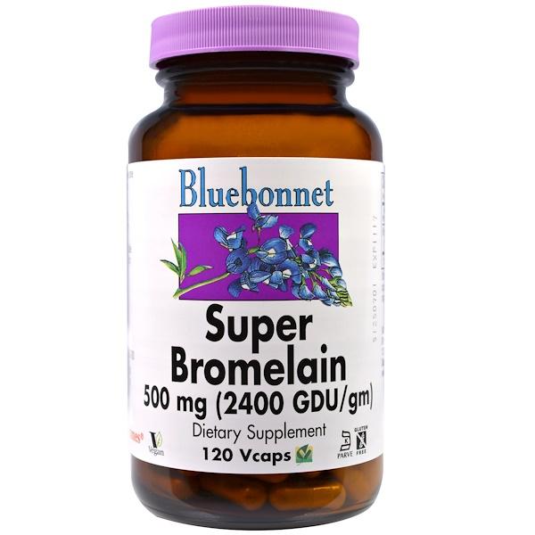 Bluebonnet Nutrition, Супер-бромелайн, 500 мг, 120 капсул (Discontinued Item)