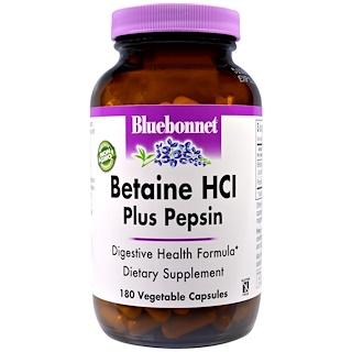 Bluebonnet Nutrition, Бетаин HCL и пепсин, 180 капсул в растительной оболочке